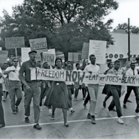 Civil Rights protesters march from St. Joseph C.M.E. to Franklin Street